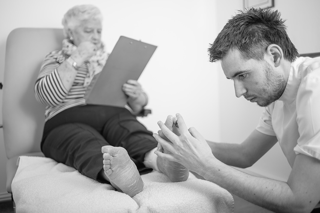 podiatrist working and caring for your feet at the dalkey podiatry clinic